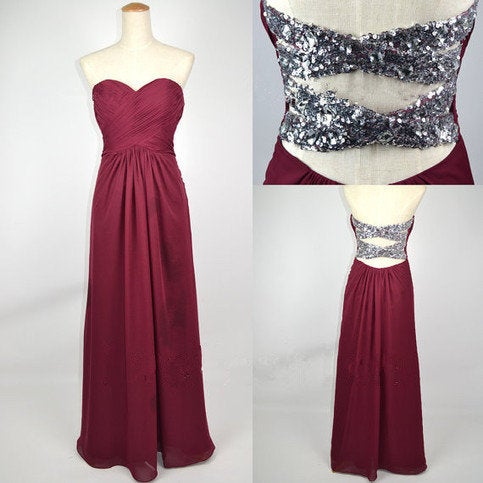 Elegant Long Cross Back Sweetheart Prom Dress , Prom Gowns, Formal Dresses