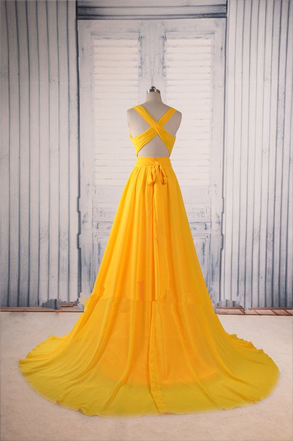 Sexy Handmade Yellow Prom Gowns, Sexy Evening Dresses, Formal Dresses, Party Dresses