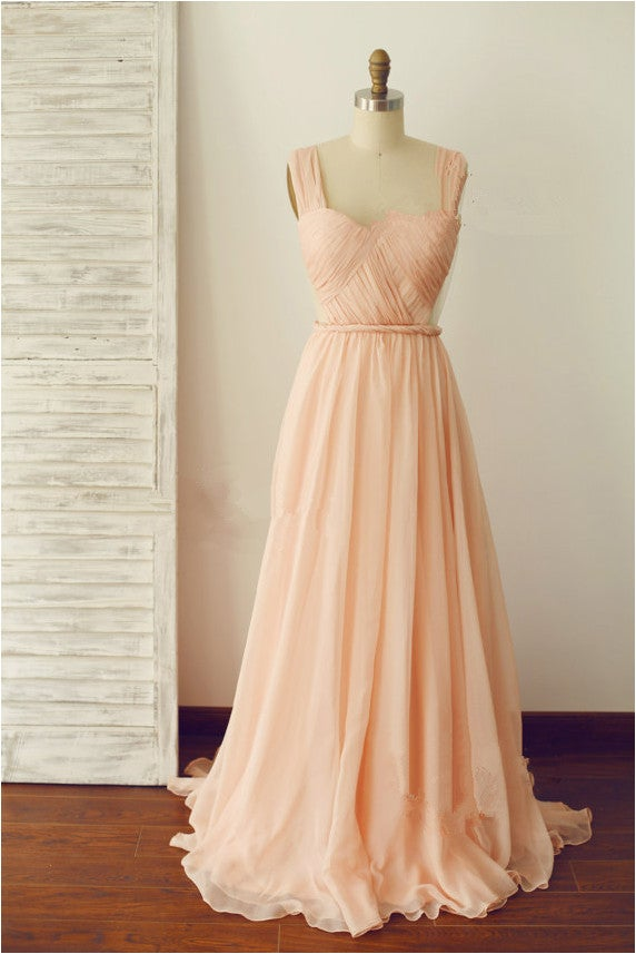 Lovely  Floor Length Straps Backless Prom Dress, Pearl Pink Formal Dresses, Party Dresses