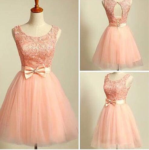 c38ea693dfe4 Image of Cute Blush Pink Lace Tulle Short Prom Dresses, Homecoming Dresses,  Graduation Dresses ...