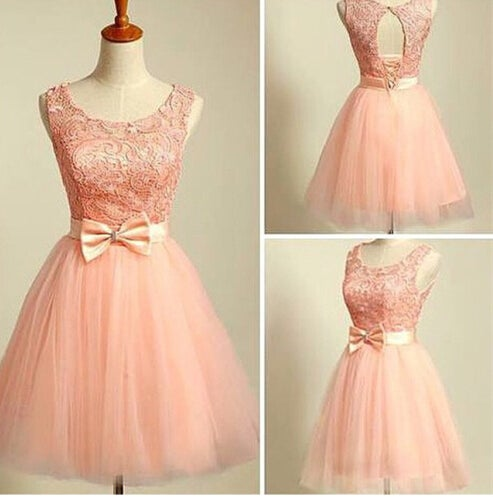 Cute Blush Pink Lace Tulle Short Prom Dresses, Homecoming Dresses, Graduation Dresses