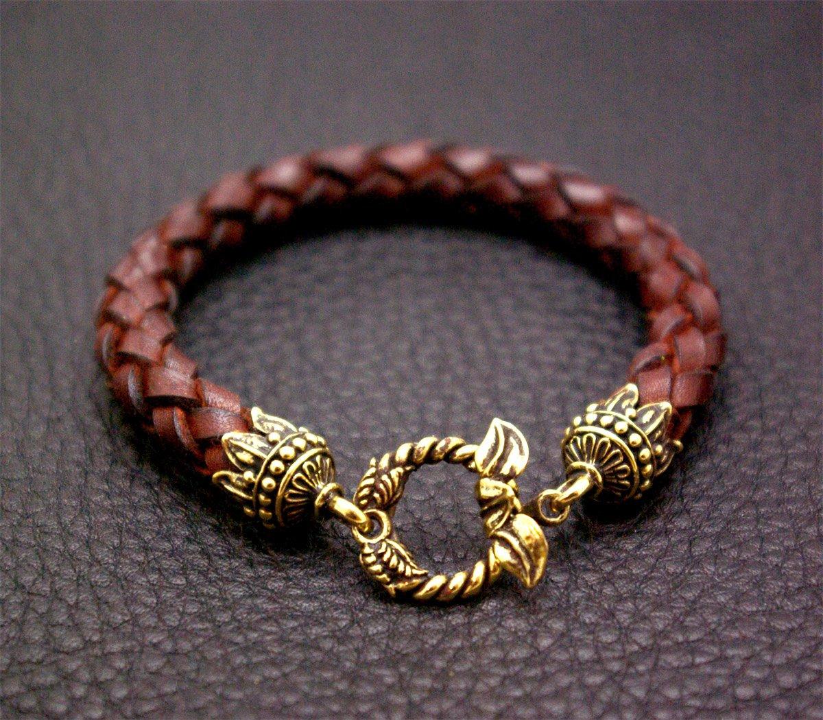 Image of Leather Bracelet with Leaf Lock - FORSALE
