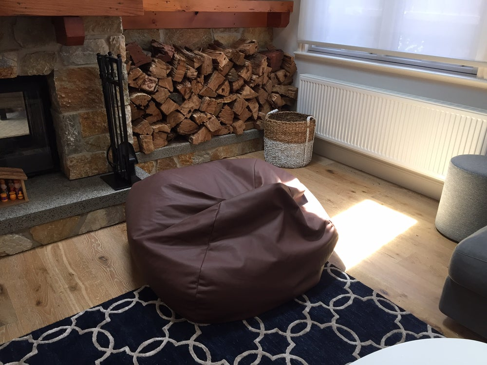 Image of Brown Leather Beanbag 'Walnut'