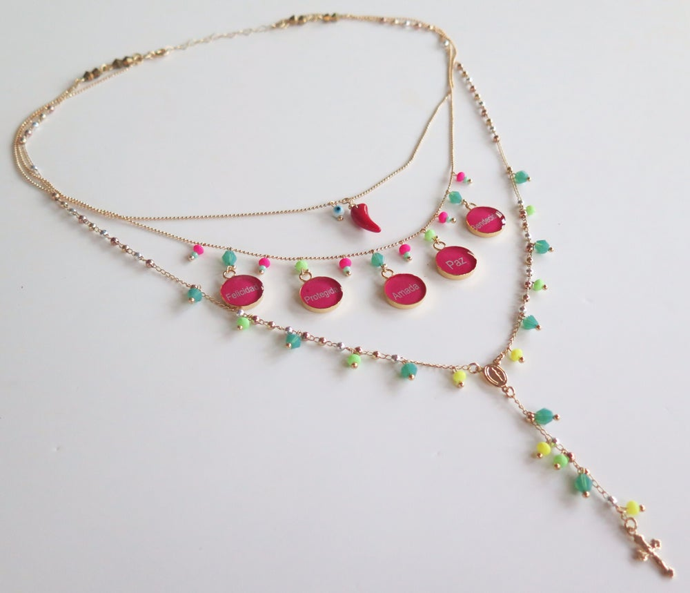 Image of Triple Harmony Turquoise and Fucsia Rosary