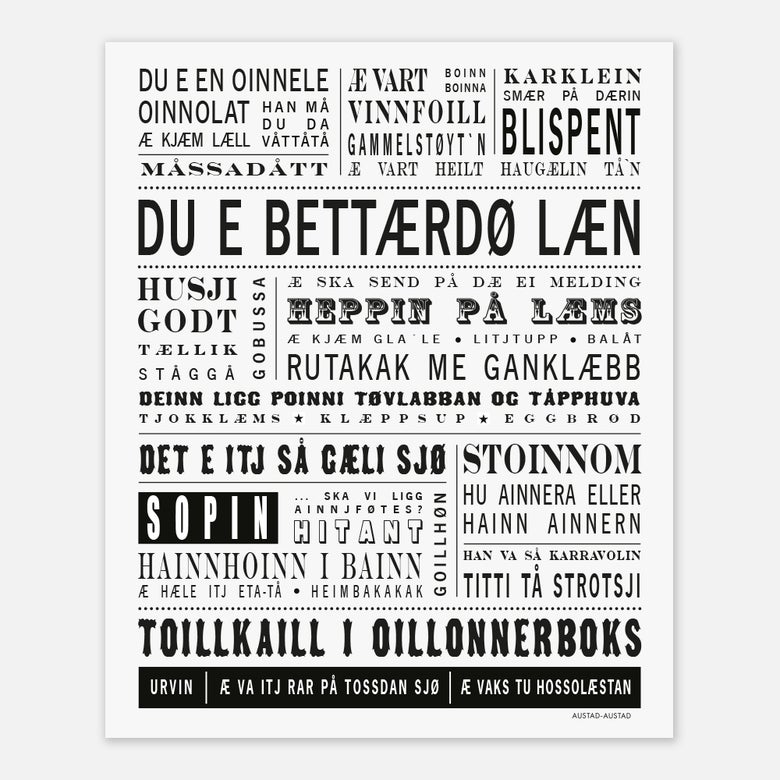 "Image of Trøndelag plakat ""Du e bettærdø læn"""