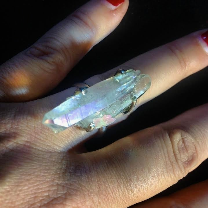 Image of Twin Soul/Tantric Twin Angel Aura Quartz Ring
