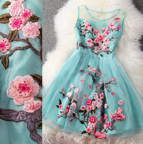 Beautiful  Blue Organza Dress With Embroidery, Blue Knee Length Dress With Embroidery in Stock
