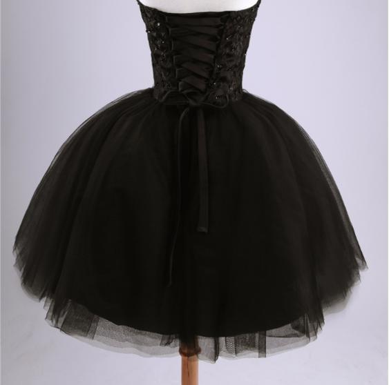 Cute Short Tulle Ball Gown Black Prom Dresses , Little Black Dresses, Homecoming Dresses