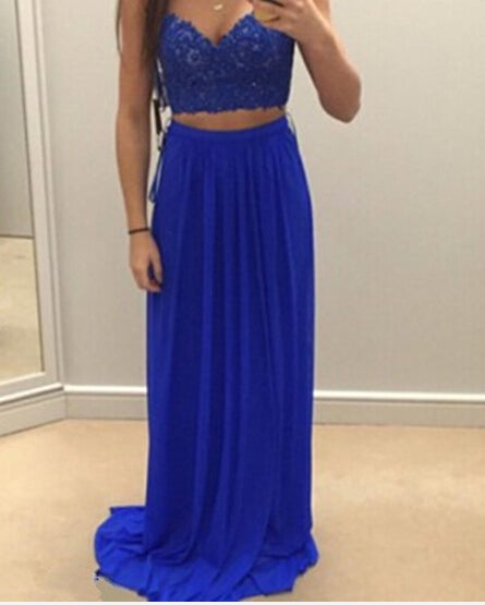 Beautiful Two Piece Blue Chiffon Prom Dresses with Lace Applique, Two piece Formal Dresses