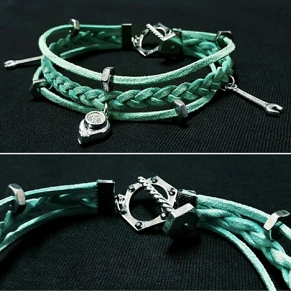 Image of Leather Car Part Charm Bracelets
