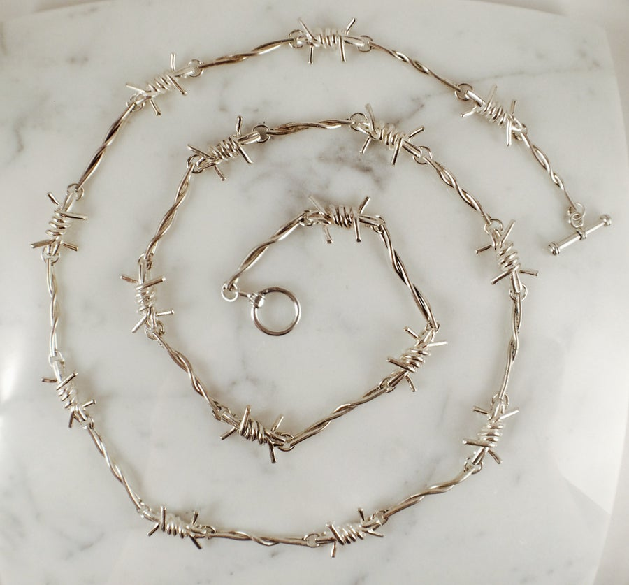 Image of Solid Silver Barbwire Bracelet