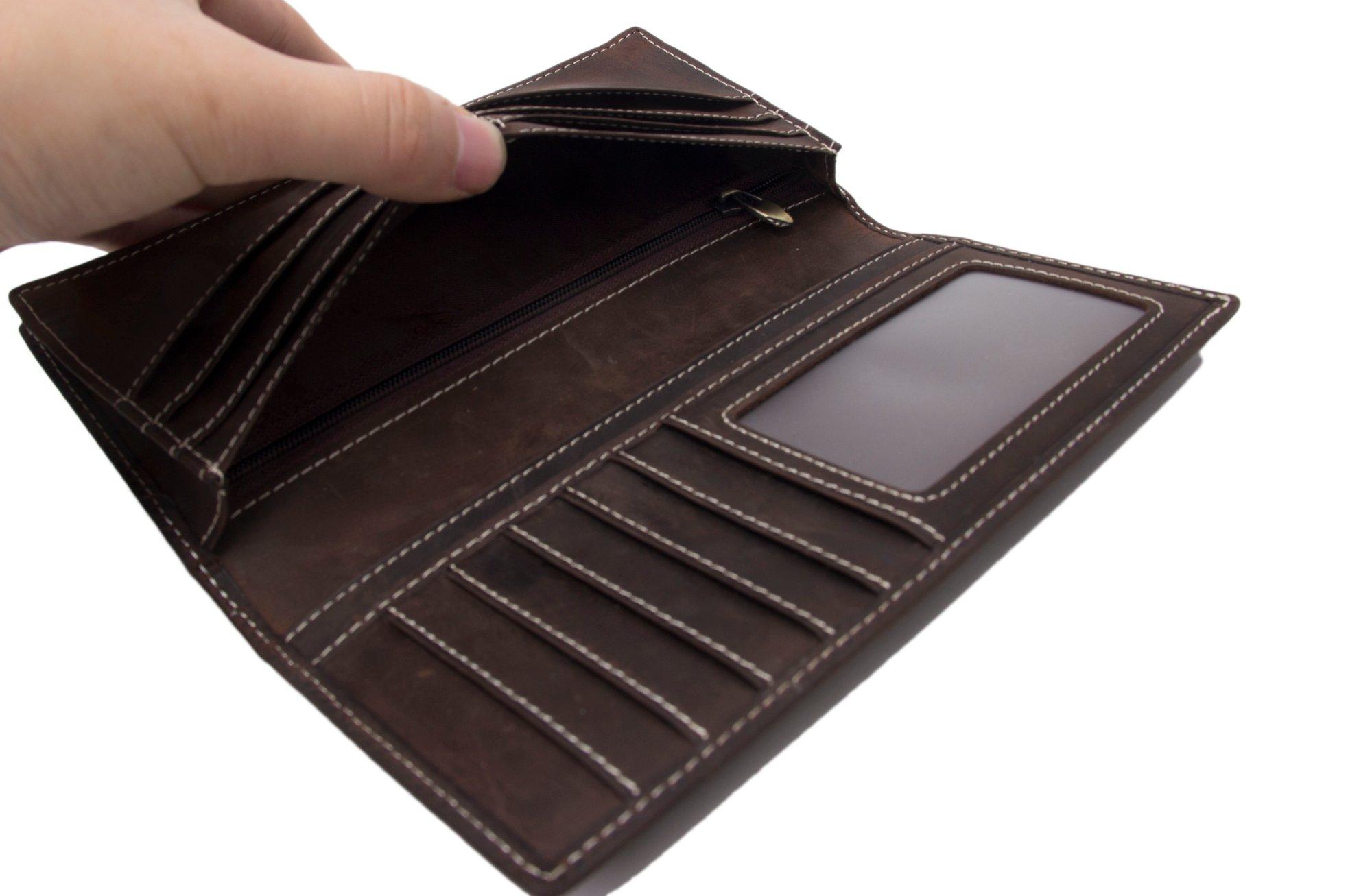 eec4ad36304d Handmade Genuine Leather Wallet Men Long Wallet Money Purse Card Holder  196-1