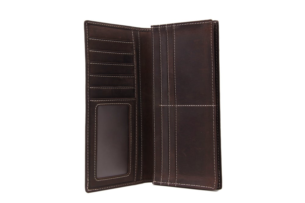 Image of Handmade Genuine Leather Wallet Men Long Wallet Money Purse Card Holder 196-1