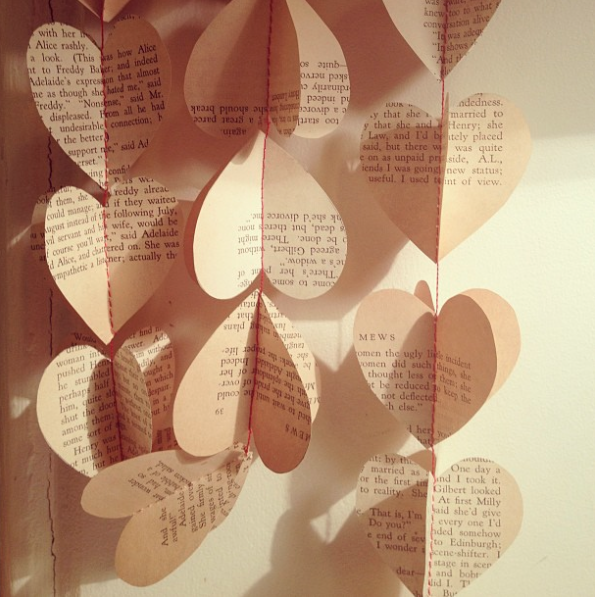 Image of String of Hearts -  garlands of vintage book papers