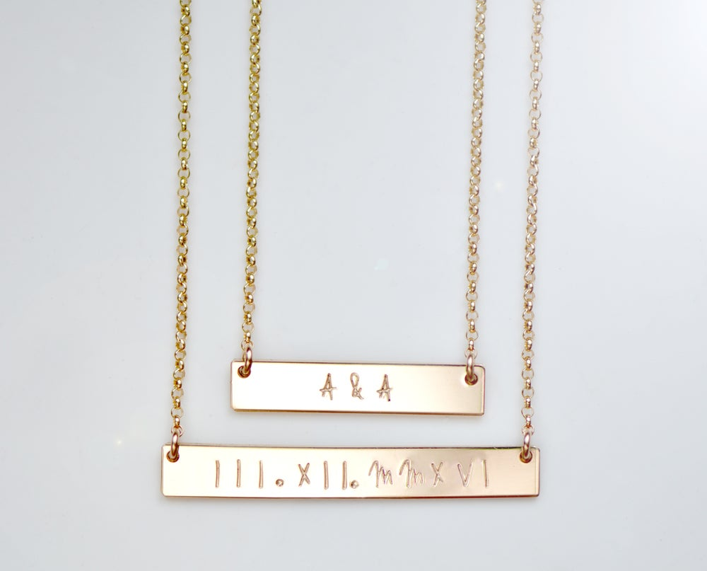 Image of Double Horizontal Bar Necklace - NamePlate Necklace - Custom Necklace -