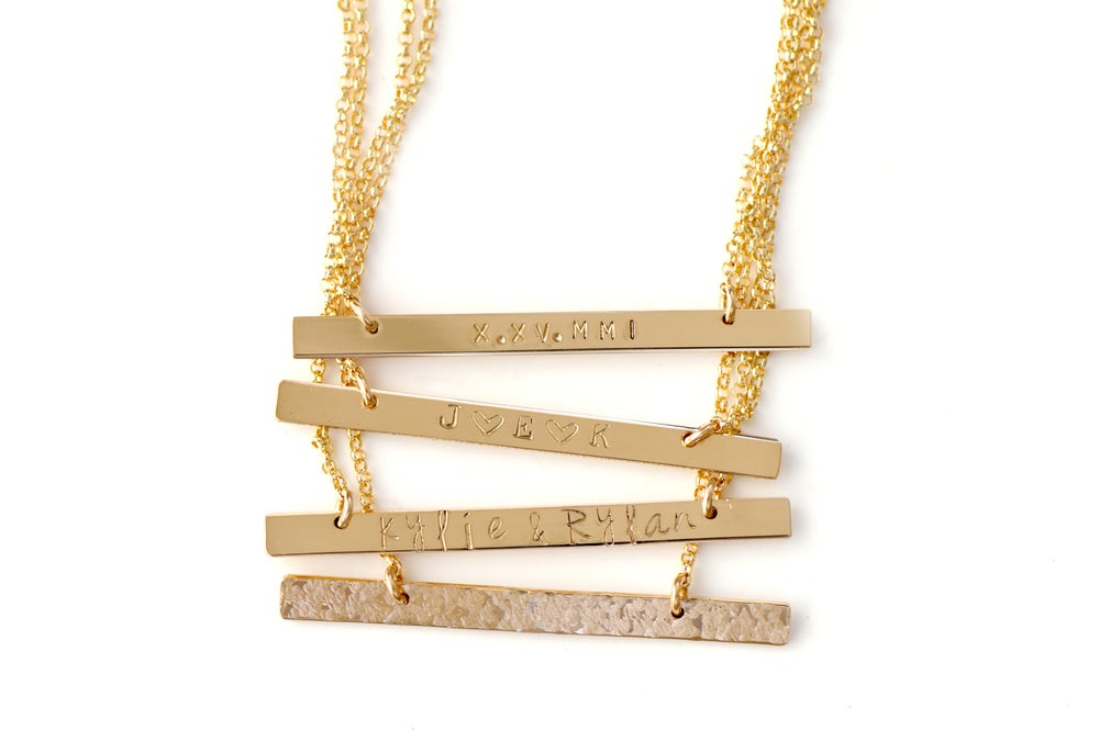 Image of Long Skinny Bar Necklace - Skinny Bar Necklace in Gold, Rose Gold or Sterling Silver