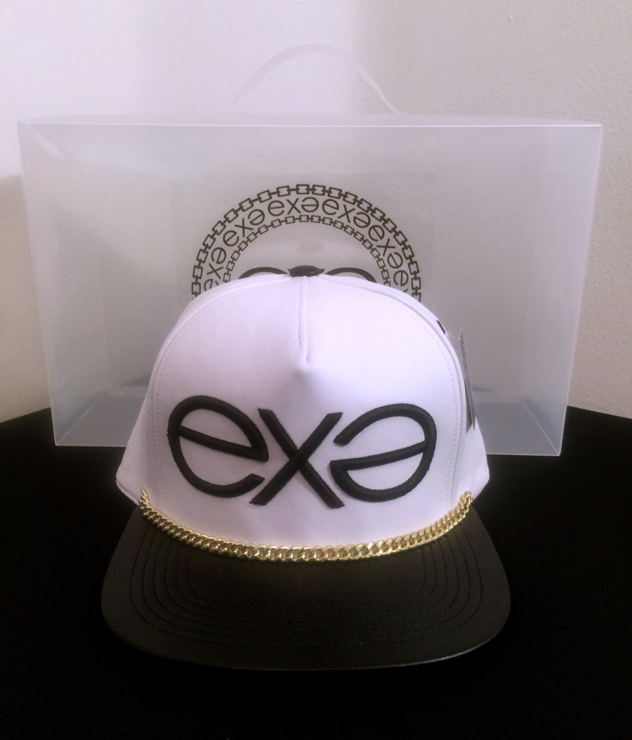 Image of EXPRESSION 06 EVOLUTION - Headwear - White and Black with Gold Chain