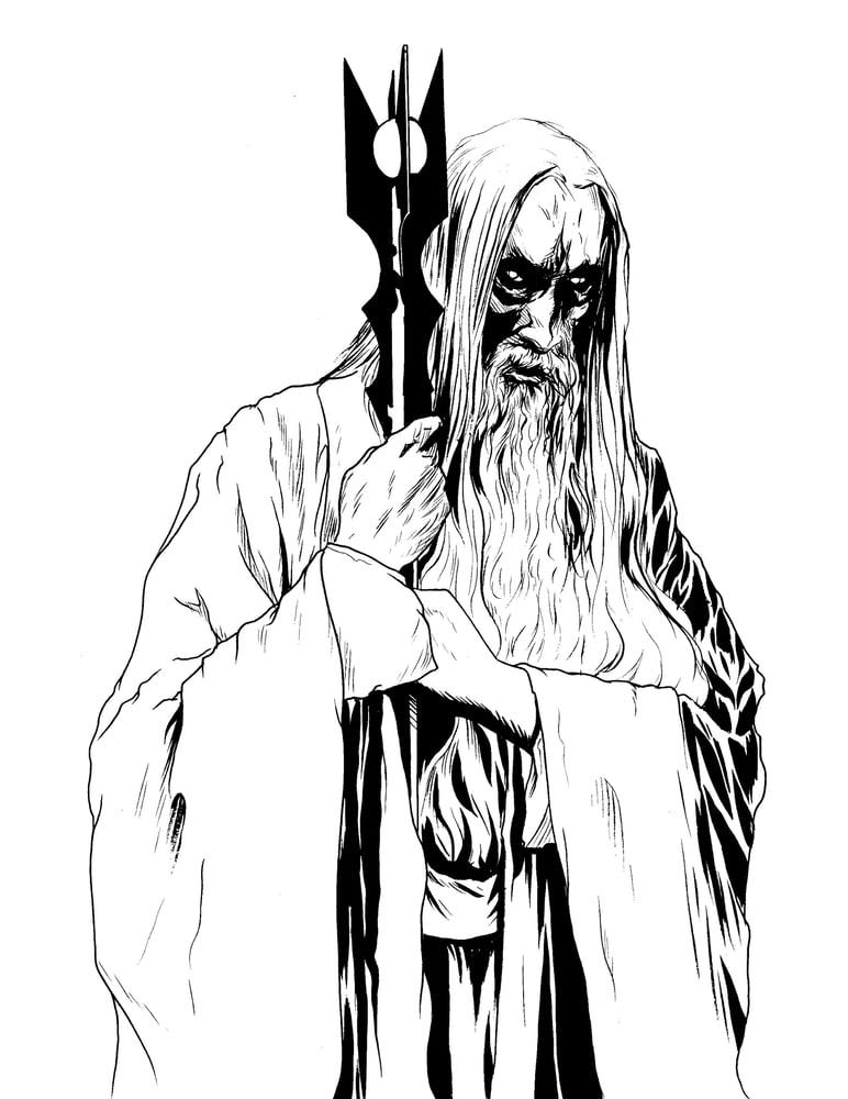 Image of white wizard original inked mock up piece