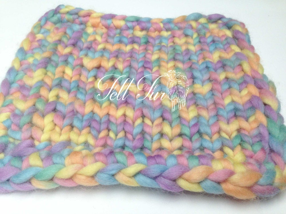 Image of Rainbow Bump Blanket, multicoloured photo prop by FelFur