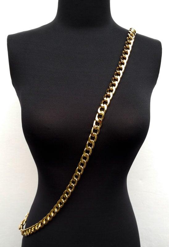"Image of GOLD Chain Luxury Strap - Large Flat Diamond Cut - 9/16"" (15mm) Wide - Choose Length & Hooks/Clasps"
