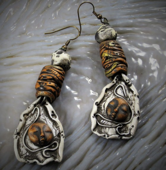 Image of  Silvery Tribal Spirit Child Earrings