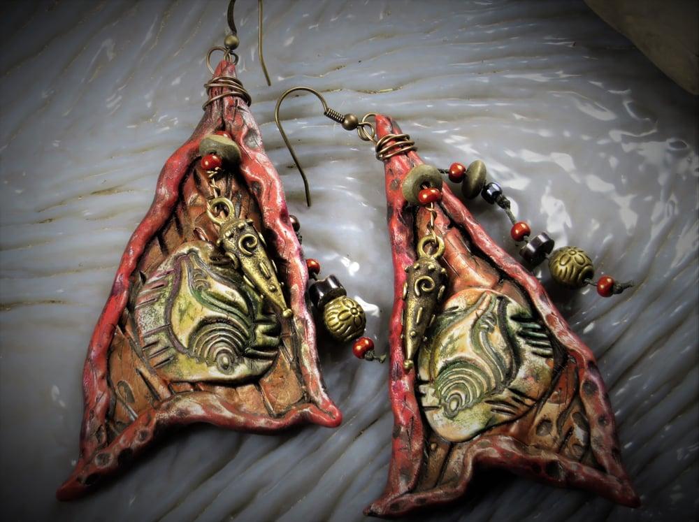Image of Mermaid Gypsy Seashell Boho Rattle Earrings