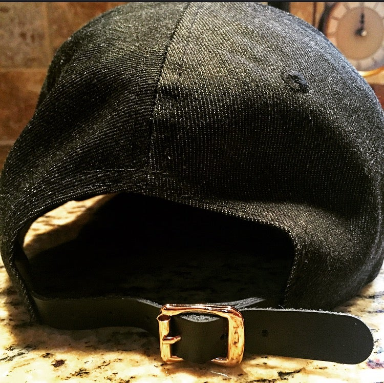 Image of denim 6 panel with Gold metal H logo