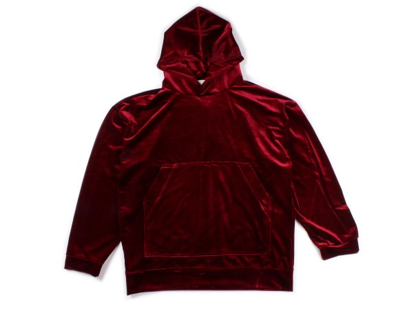 Image of PULLOVER // VELOUR HOODIE RED