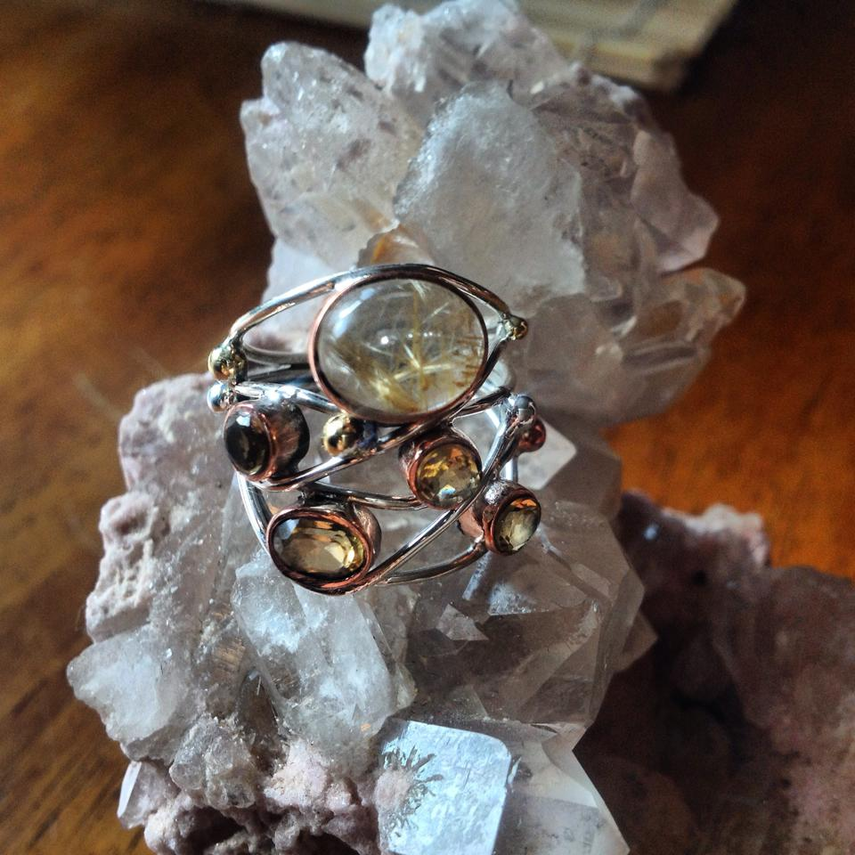 Image of Golden Rutilated Quartz and Lemon Quartz in Sterling Silver