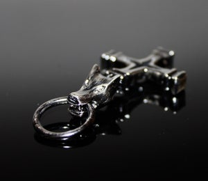 Image of Wolf cross in silver on silver chain