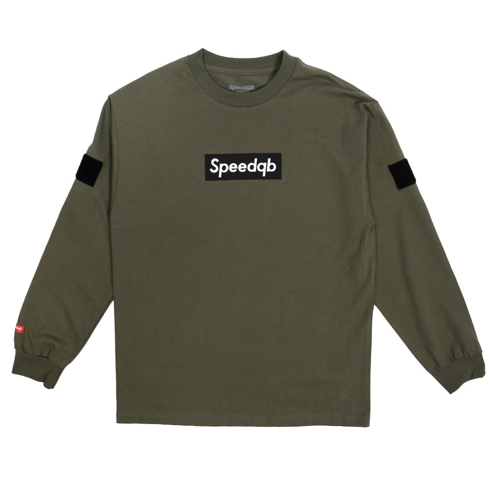 Image of SpeedQB Box Logo Longsleeve T-Shirt - OD Green
