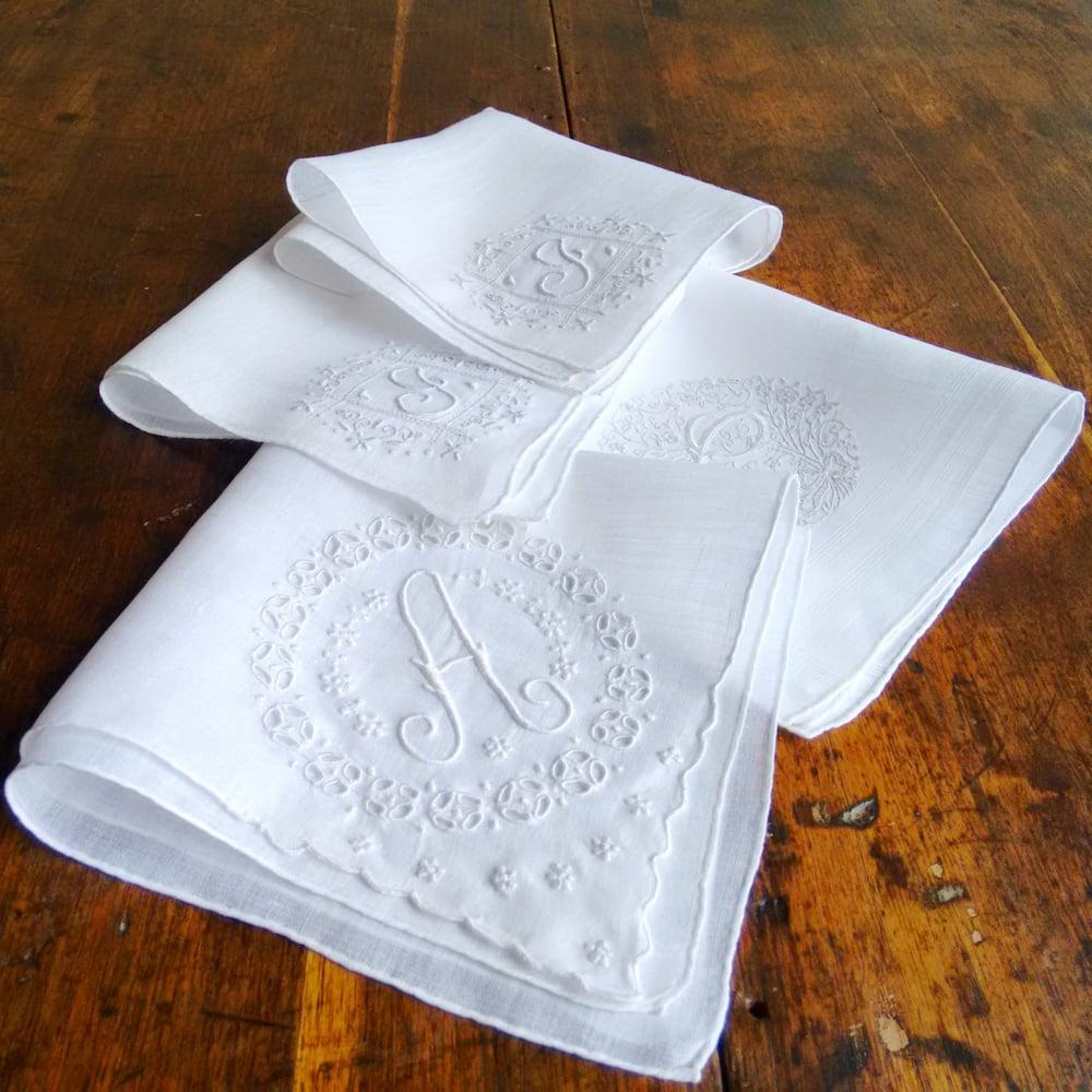 Image of 4 Hand Handmade Madeira Hand Kerchiefs