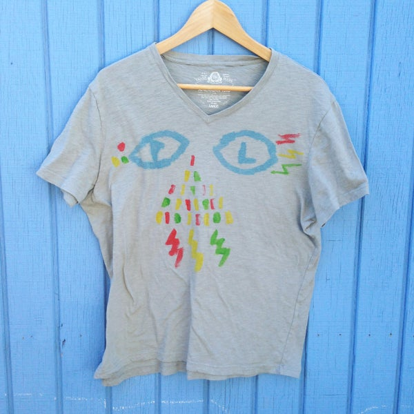 Image of ACID EYES -  hand painted by Aaron (Grey- Women's Large)