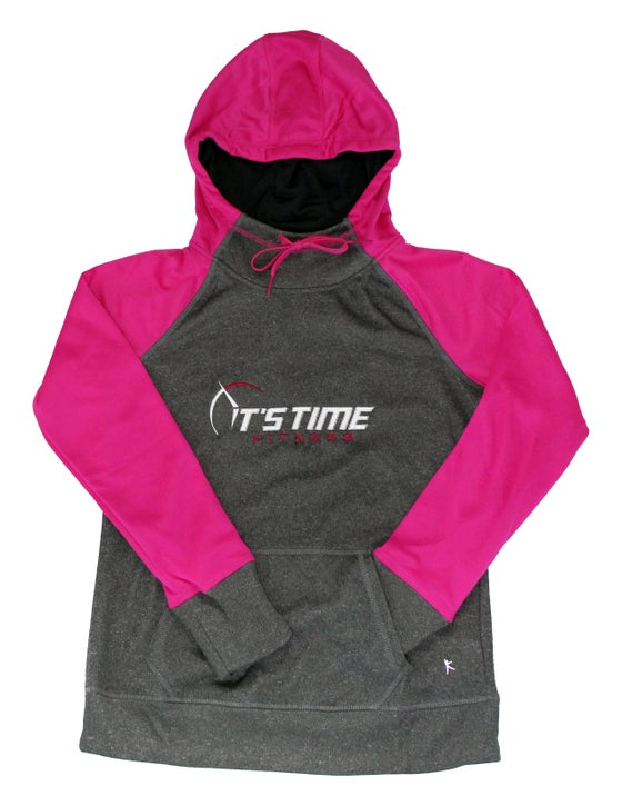 Image of It's Time Fitness Logo Pink/Grey Hoodie