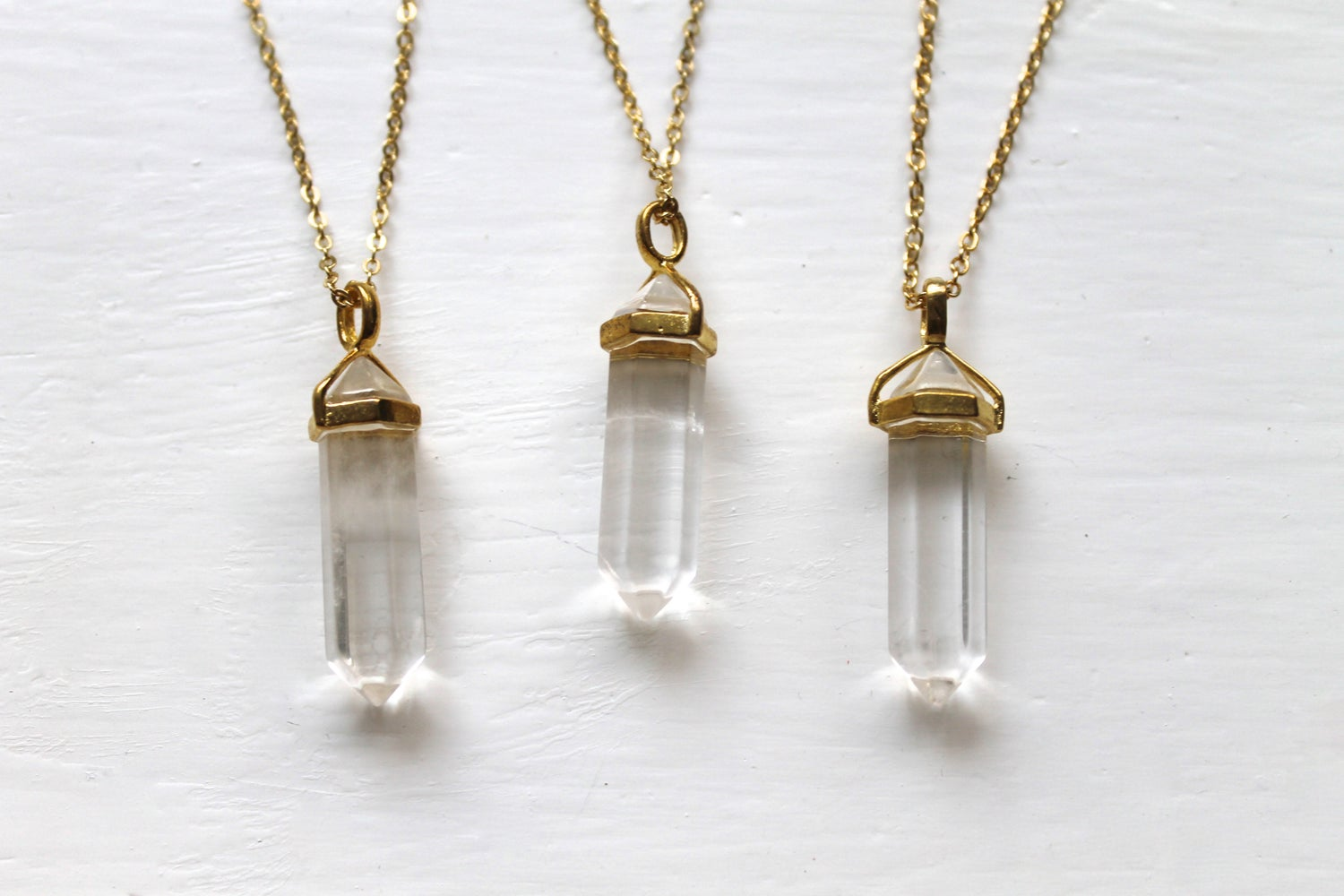 Image of Gold Crystal Point Necklace (Originally $24)
