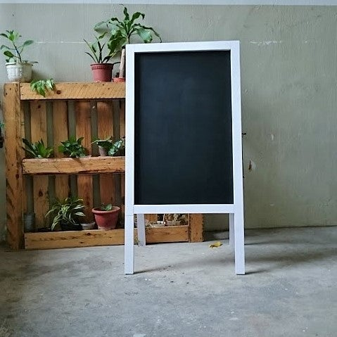 Image of Medium Double Sided Standing Chalkboard with White Wooden Frame (90cm X 60cm)