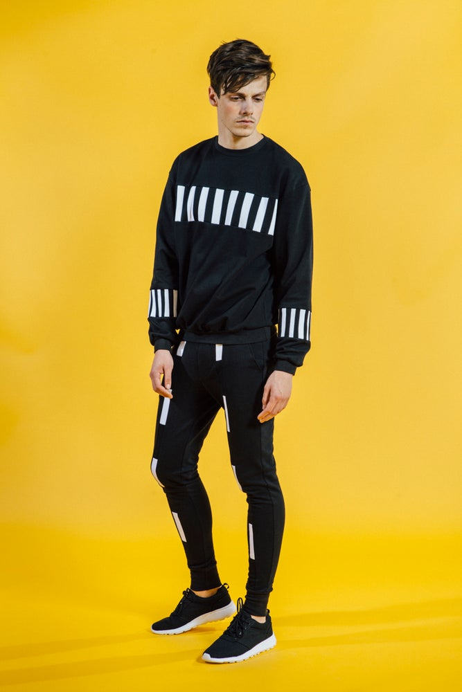 Image of Sweater Black With Black And White Stripes