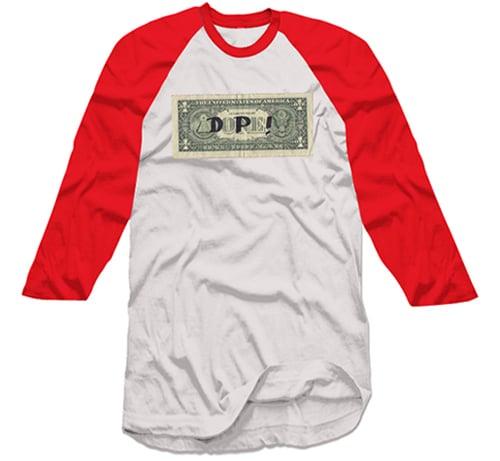 Image of Dollar Bill Baseball T-shirt - Red/White