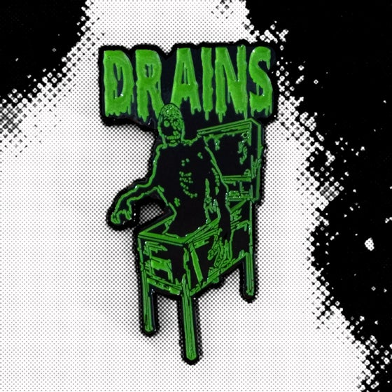 Image of Drains Enamel Pin Version II (Black and Green)