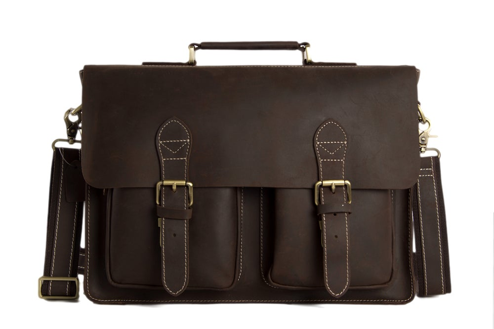 Image of Handcrafted Top Grain Genuine Leather Laptop Briefcase Business Handbag Men Messenger Bag 0344