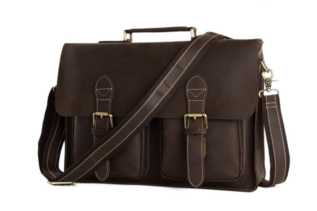 10b64634d1 Handcrafted Top Grain Genuine Leather Laptop Briefcase Business Handbag Men Messenger  Bag 0344