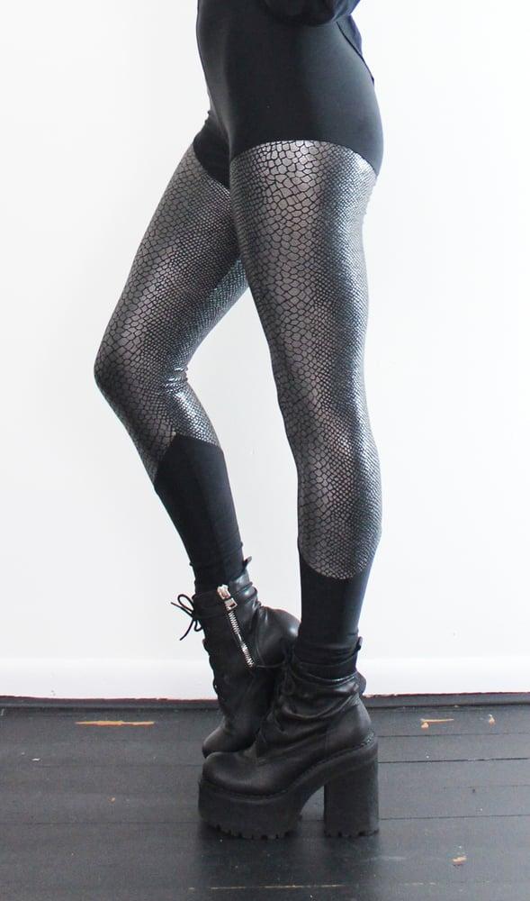 Image of Gunmetal snake skin pattern leggings