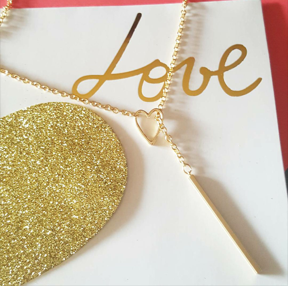 Image of Gold Heart and Bar necklace