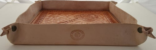 Image of Custom Hand Tooled Leather Valet Tray. Your image/design or idea.