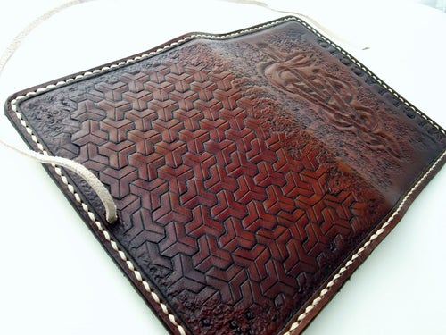 Image of Custom Hand Tooled Leather Notepad, day planner, notebook cover. Refillable. Your image or idea.
