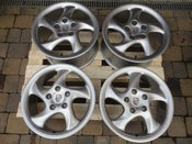 "Image of Genuine Porsche Turbo 1 5 Spoke Twist 18"" 5x130 Alloy Wheels"