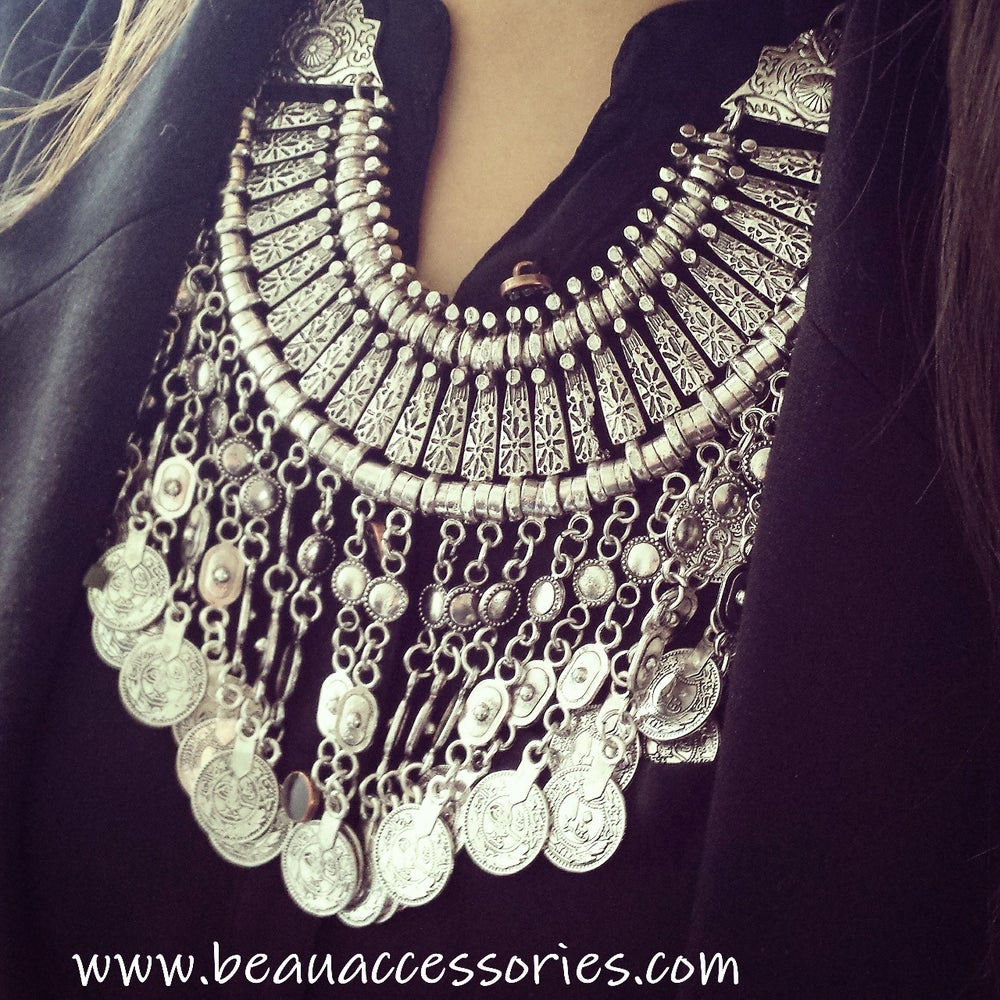 Image of Silver Coin Boho Necklace