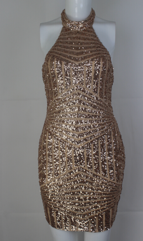 Image of HOT GOLDEN SEXY BACKLESS DRESS