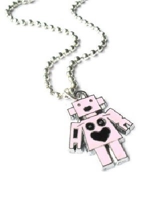 Image of Pink Enamel Robot Charm Necklace