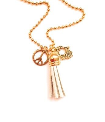 Image of Kool Jewels tassel charm necklace - goldtone